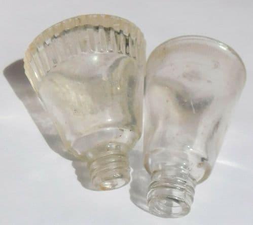 2 vintage perfume bottles clear glass one Helena Rubinstein 2 inch tall NO LIDS